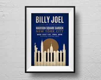 Billy Joel Print, New York, concert poster, Billy Joel poster, retro concert poster, Billy Joel souvenir, original design