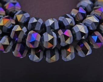 AB Black Glass Beads , Frost crystal Beads , Matte glass beads , spacer beads , 6mm 8mm 10mm faceted beads 100 Pcs Full Strand