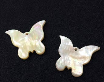 25mm-5 Pcs White Shell Butterfly Pendant , Mother of Pearl , Shell Disc , Flake Shell