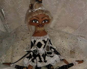 HOPE--artdoll-cloth doll-Afro-Black-African-soft-custom doll-handmade-collectors item-fancy doll
