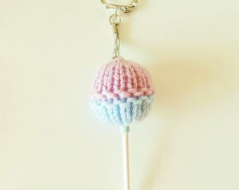 Keychain / bag charm in the shape of pink and blue lollipop