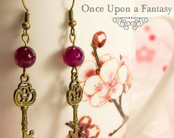 Key and fuchsia agate earrings