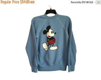 SALE Vintage Classic Mickey Mouse Light Blue Crewneck Sweatshirt Small/Medium FREE SHIPPING!