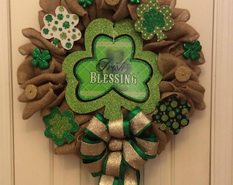 St Patricks Day Wreath, St Patricks Day Decorations, St Patricks Day Decor, Irish Blessings, Shamrock Decor, Shamrock Home Decor, Shamrock w