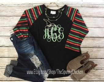 Adult Striped Monogram Witch Hat Halloween Raglan Shirt