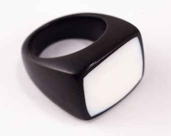 Black Resin and White Shell Ring; Resin Ring, Resin Jewelry
