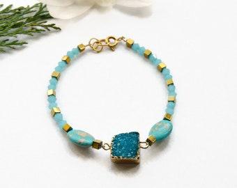 inspirational women gift Blue Druzy bracelet Raw stone jewelry Crystal Quartz Bracelet Raw Stone Bracelet for women gift graduation gift