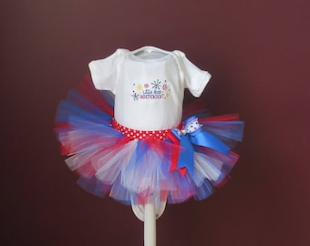 "Baby Toddler 4th of July "" Little Miss Independent""  Red, White and Blue Tutu Set With Onesie Tutu and Headband~ Size: 6 months Ready to GO!"