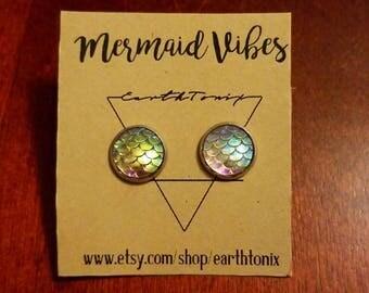 Mermaid Scale Stud Earrings - Stainless Steel