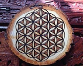 "4.5"" Wood Burned Mandala Slice - Handmade Wall Hanging, Flower Of Life, Sacred Geometry Art, Bohemian Wall Art"