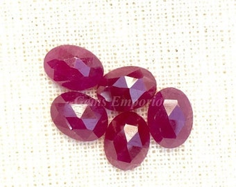ON SALE Ruby 8x6mm Rose Cut Oval Cabochons. Genuine Ruby Faceted Cabs / July Birthstone / Price per piece.