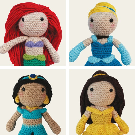 Disney Princess: Ariel, Cinderella, Jasmine & Belle. Little Mermaid, Aladdin, Beauty and the Beast, Classic Amigurumi Pattern, DIY, Crochet