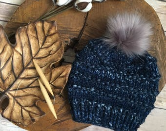 Handmade Knit Hat - Faux Fur Pom Pom - Chunky Beanie - Child Hat - Wool Hat - Beanie - Toque - Toddler Hat - Winter Hat