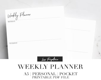 2018 Weekly Planner, Printable Planner Inserts, Horizontal Weekly Planner, Week On Two Pages, A5, Personal, Pocket, 2018 Planner, Undated