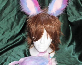 Bunny Rabbit Tail and Ear Set Galaxy luxury faux fur, Cosplay, Pet Play, Costume, anime