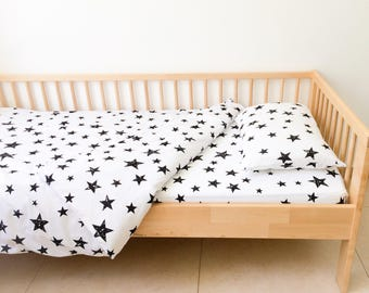 Stars Twin Sheets Set, Neutral Nursery Decor, Geometric Sheets, Kids Bedding, Fitted Sheets Boys, Bedroom Decor, Toddler Bedding, Monochrome