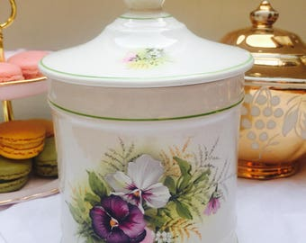 Pretty 'Pansy' Vintage Old Foley Trinket Box