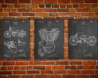 Harley patent art, Patent Print, Harley canvas Art Print, Mechanic Gift, Harley Wall Print, Harley Wall Decor, Harley Poster set of 3