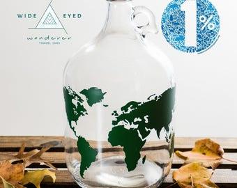 LID INCLUDED: Travel Jar Money Jar Adventure Fund Travel Explore Save Money Coins World Map Wander Wanderer Passport Gift Piggy Bank Change