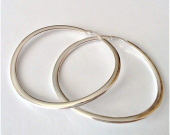 Large Sterling Silver Hoop Earrings, Madern Jewelry, Minimalist Silver Hoop Earrings, Boho Earrings, Gift for Her.