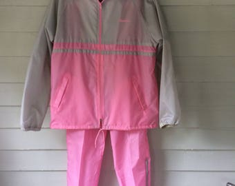80's Pink and Gray Wind Suit MacGregor size Large