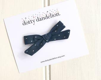 Denim Hair Bow - Girls Hair Bow - Denim Hair Clip - Polka Dot Bow