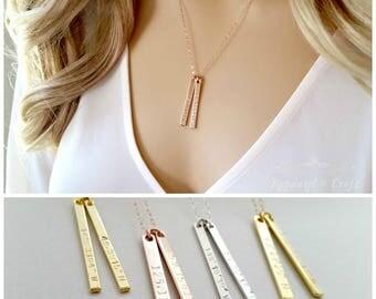 Custom Dainty Vertical Coordinates Necklace | Personalized Bar | Bridesmaid Necklace | Delicate Bar Necklace | latitude longitude |