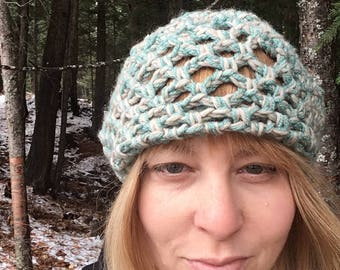 Basket Weave Beanie Hat Wool Winter Cap