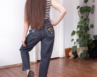 80s Mom Jeans High Waisted Baggy Boyfriend Jeans Womens Medium Tapered Leg Jeans Faded Black W30 L28 Loose Fit Denim Pants Embroidered Jeans
