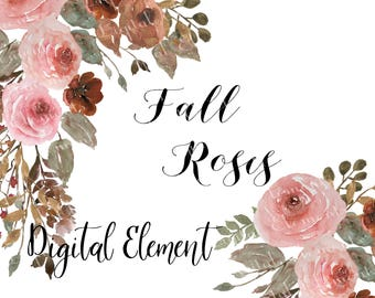 Watercolor Rose Clip-art, Fall Rose Clip-art, Fall Wedding Roses, Roses and Flower in Fall Colors. No. WC69