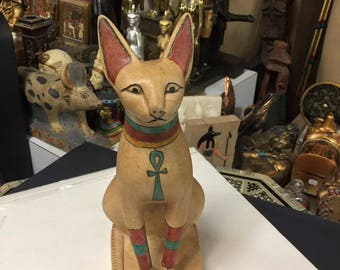 Unique Vintage Large  Egyptian Cat Statue Hand Carved Natural Stone Made in Egypt