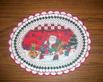 New Handmade Crochet Doily/Christmas Santa and his Sleigh with Reindeer and Snowman