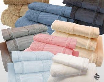 5* Top Quality Plain Bath Towels Set - Ref. Finera - Bath Sheet, Hand Towel, Guest Towel