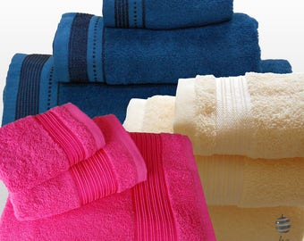 Top Quality Bath Towels 420gsm Ref. ALOÉ – 3 Pieces Set - Bath Sheet, Hand Towel, Guest Towel – Various Colors