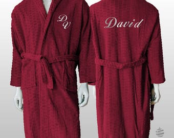 Personalized Jacquard Polar Robe Ref. Hive - Bordeaux