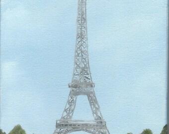 """Oil Painting """"Eiffel Tower small"""" an original  by M.W. Stuart. 8x10x3/4"""