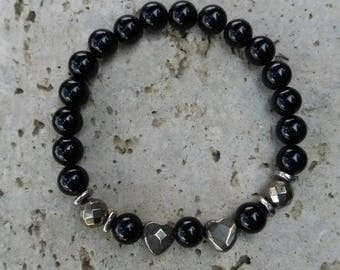 Energized bracelet Protection and well-being in black onyx, pyrite hearts