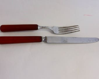 Bakelite Knife and Fork in Orange Cutlery Utensils Flatware