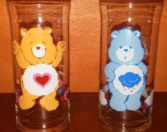 Set of 2 care bear vintage glasses