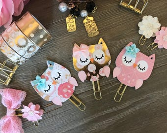 PRETTY in PINK OWL Planner Clip