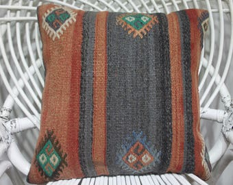decorative pillows pastel color embroidery pillow striped kilim pillow home decor Turkish kilim pillow 16x16 pillow cover coussin kilim 3648