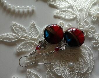 Earrings-Bohemian glass beads and silver hooks-925 stamped-Handmade jewelry by C) schmuckoma-red-blue-gold pierced earrings