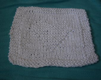 Knit Cotton Dishcloths with a Heart (3 count)