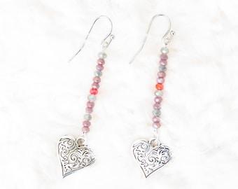Vampire Diaries earrings, Damon Salvatore, Elena Gilbert, Valentine gift, boho earrings, heart earrings