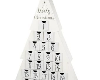 Traditional Wooden Advent Christmas Tree Calendar - December Count Down - For Adults & Kids Alike