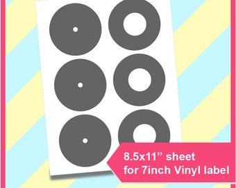 "7 inch Vinyl label template,  PSD, PNG and SVG, Formats,  8.5x11"" sheet,  Printable 219"