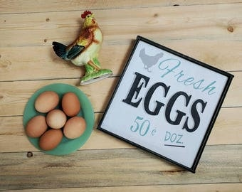 Rustic farmhouse inspired Fresh EGGS framed wood sign