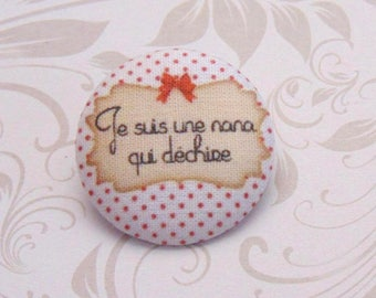 x 1 38mm fabric button I'm a girl who rocks ref A30