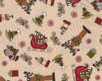 Glad Tidings - Per Yd- Henry Glass by Leanne Anderson - Get your ChrisMOOSE on! Tan