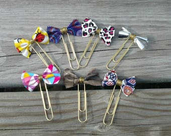 Set of 7, Bow planner clips, Bow paper clip, Bookmark bookmarks, Planner accessories, Bow decorations, Cute planner clip, Gift for planners